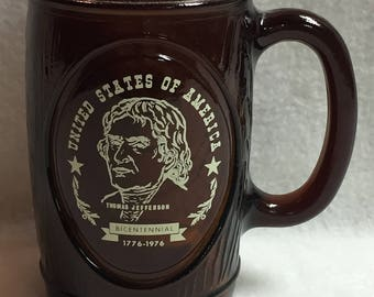 USA Bicentennial Thomas Jefferson Brown Mug (#007)