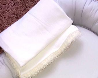 White swaddle/blanket-ivory-baby gift- newborn