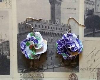 Purple Origami Paper Flower Earrings