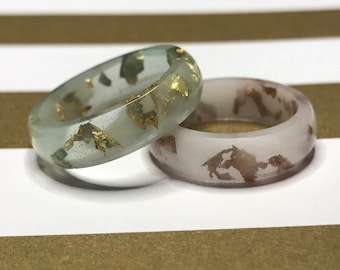 Gold and Copper Flakes Resin Rings