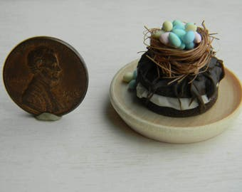 Easter Cake, Miniature Food,12th Scale, Dollhouese Food, Miniature Easter Cake, Dollhouse Easter, Easter Decor, Chocolate Cake