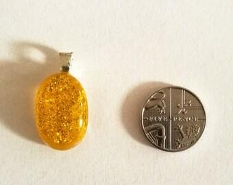 Yellow Dichroic Fused Glass Pendant