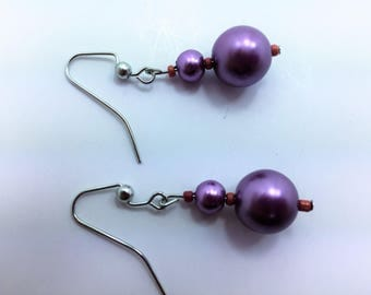 Frosted pink earrings #1