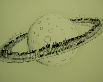 Under cover of Saturn, pen and ink on paper.