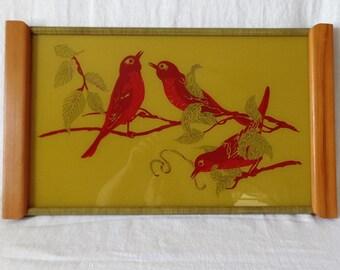 Mid Century Modern Wall Art Hanging Plaque Tray Red Birds Mod