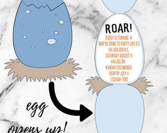 DINOSAUR EGG INVITATION / Dinosaur / Egg / Prehistoric / Birthday