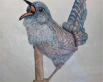 Blue and Brown Bird on a Stick - 12 x 9 Original watercolor - other sizes available in prints: 8.5 x 10 or 4 x 6