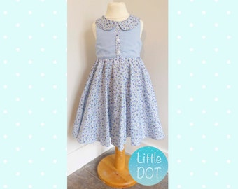 Handmade Girls Blue Floral Party Dress with Collar