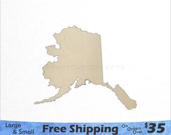 Alaska AK State Cutout - Large & Small - Pick Size - Laser Cut Unfinished Wood Cutout Shapes (SO-0010-02)