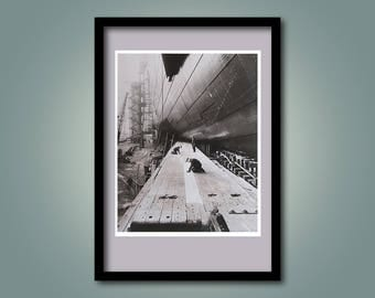 Vintage Photograph Poster of a Large Ship under Construction - Clyde Ship Yard - Dry Dock