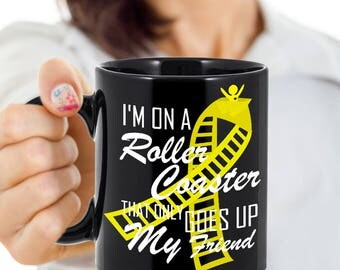 Sarcoma Bone Cancer Coffee Cups Novelty Roller Yellow Ribbon Ceramic Mug Get Well Cup Lover Mugs Cute Gift Survivor Support 11 & 15 ounce