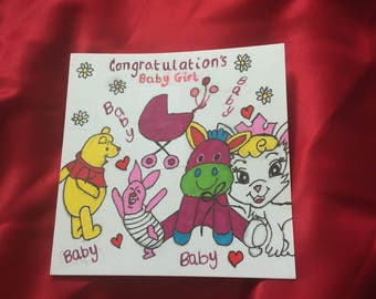 Congratulations baby girl card