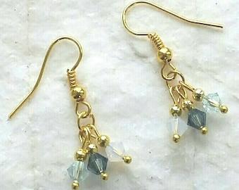 Swarovski Crystal Sapphire Aqua And White Opal Gold Earrings