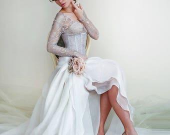 Silk  Wedding Dress. Long Sleeve Wedding Dress.Slit A-line Wedding Skirt.V-neck Bridal Lace Top. Bridal Separates.Underbust Lace Corset.