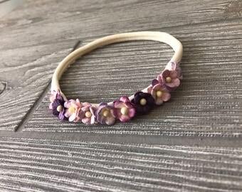 Mini Sweetheart Blossoms Baby Headband - Girl Headband - Flower Headband - Mulberry Paper Flower - Mulberry Flower