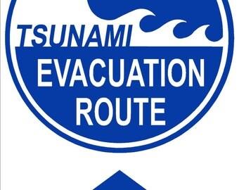 TSUNAMI EVACUATION ROUTE 12x18 Thick Aluminum Sign, Up Arrow