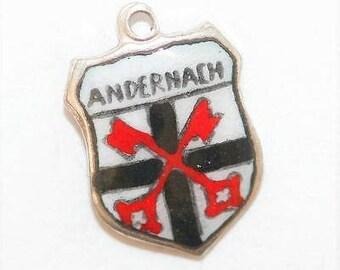 Vintage 800 Silver Enamel Travel Shield Bracelet Charm Andernach Germany