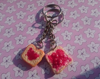 Jam on toast keyring set