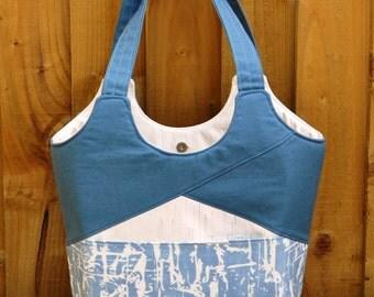 Stand up and Tote Notice Bag, Medium Tote Bag, Blue tote Bag, Tote bag, Shoulder Bag.