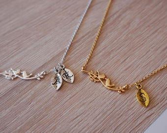 Necklace bird, gold plated 18 k, silver plated, bird necklace original design trend
