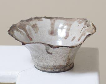 White decorative raku petal bowl