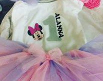 Minnie Mouse 1st Birthday shirt w/ name