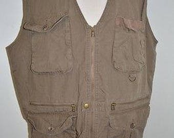 Eddie Bauer Fishing Vest Vtg Hunting Photography Safari Brown Mens Sz XL