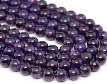 "8MM Deep Purple Amethyst Grade A Natural Gemstone Full Strand Round Loose Beads 15.5"" (100718-308)"