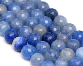 "6MM Faceted Blue Aventurine Natural Gemstone Full Strand Round Loose Beads 15"" (100902-343)"