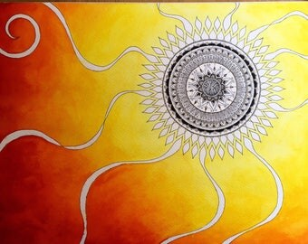Sun zentangle mandala