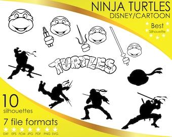 10 Silhouettes, Ninja, Turtles, Turtle, Teenage, Mutant, Disney, Cartoon, dxf, eps, fcm, jpg, pdf, png, svg, Silhouette, Cricut, ScanNCut