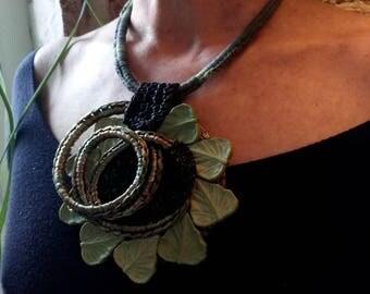 Collana Giardino   Verde  Fiore    Fatta a Mano Sartù Bijoux