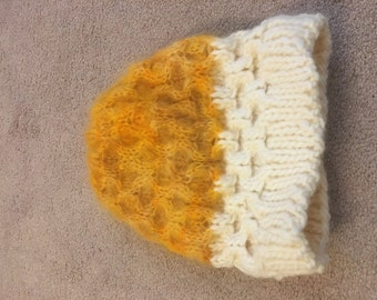 yellow and white honeycomb cable knit hat