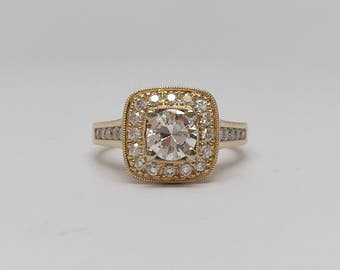 Transitional Cut Diamond Solitaire Engagement Ring