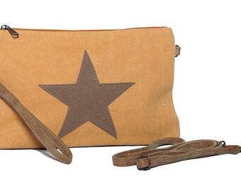 Star handbag, tote bag, stars bags, star messenger bag, canvas handbag, star mustard bag, small canvas bag, shoulder strap