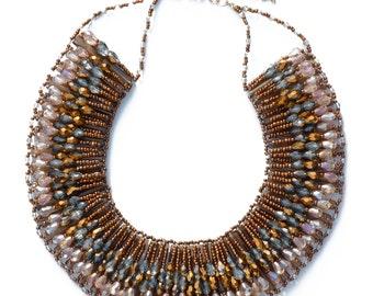 Beaded Rays Bib Necklace - Bronze