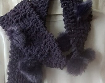 Chenille Scarf with Faux Fur Pom Poms