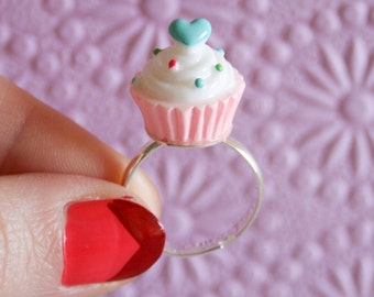 Spunky Tiny Cupcake Ring in Pink - Size 8