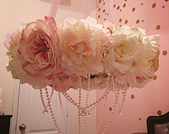 Flower Mobile - Baby Mobile - Pink Coral Flower - Crib - Crystal and Pearl