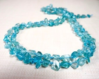 Blue apatite faceted Nuggets/6x6-8x6mm/7.5 inches long