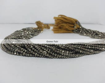 13 Inch Natural Pyrite Micro Faceted Beads - Pyrite Rondelle Beads - Pyrite Rondelle Beads - Natural Pyrite Beads - Pyrite Faceted Beads