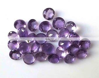 10 pieces 4mm amethyst round faceted gemstone - natural amethyst faceted round  loose gemstone - wholesale amethyst - semi precious gemstone