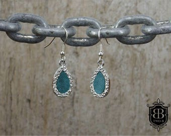 Earrings drop turquoise leather