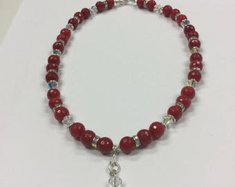 Red Agate and swarovski crystals