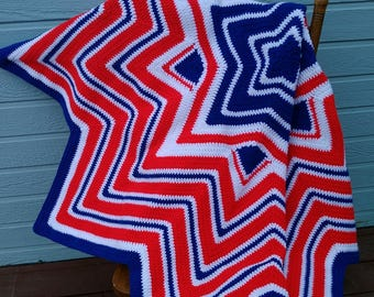 Red white and blue crochet star afghan
