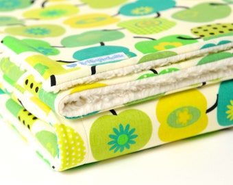 Baby blanket, 'retro apples', green, blankie, with baby on the way, cotton blanket,
