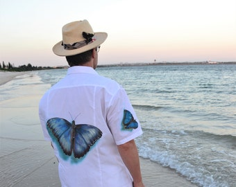 Morpho Butterfly Handpainted Shirt