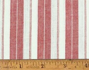 """Cherry Red Stripe Homespun Cotton Fabric (Full Yard 36"""" x 44"""")"""