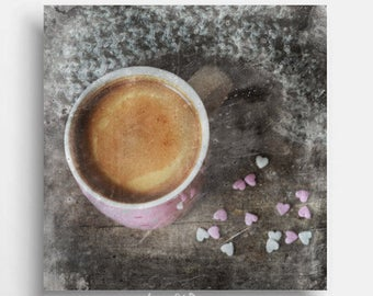 Kitchen wall art print Coffee poster Brown pink decor Downloadable arts Dinning room decors Blush pink prints First coffee lovers gift art