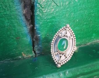 Silver Ring Green Onyx / Bague en Argent et Onyx Verte
